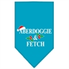 Mirage Pet Products Aberdoggie Christmas Screen Print Bandana Turquoise Small