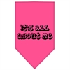 Mirage Pet Products It's All About Me Screen Print Bandana Bright Pink Large
