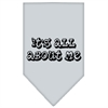 Mirage Pet Products It's All About Me Screen Print Bandana Grey Large