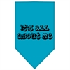 Mirage Pet Products It's All About Me Screen Print Bandana Turquoise Large