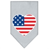 Mirage Pet Products American Flag Heart Screen Print Bandana Grey Small