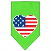 Mirage Pet Products American Flag Heart Screen Print Bandana Lime Green Large
