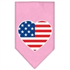 Mirage Pet Products American Flag Heart Screen Print Bandana Light Pink Large