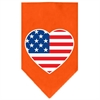 Mirage Pet Products American Flag Heart Screen Print Bandana Orange Small