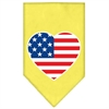 Mirage Pet Products American Flag Heart Screen Print Bandana Yellow Large