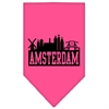 Mirage Pet Products Amsterdam Skyline Screen Print Bandana Bright Pink Large