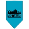 Mirage Pet Products Amsterdam Skyline Screen Print Bandana Turquoise Large