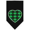 Mirage Pet Products Argyle Heart Green Screen Print Bandana Black Large
