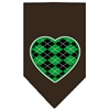 Mirage Pet Products Argyle Heart Green Screen Print Bandana Cocoa Large