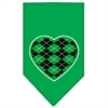 Mirage Pet Products Argyle Heart Green Screen Print Bandana Emerald Green Large