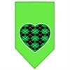 Mirage Pet Products Argyle Heart Green Screen Print Bandana Lime Green Large