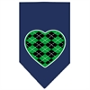 Mirage Pet Products Argyle Heart Green Screen Print Bandana Navy Blue large