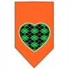 Mirage Pet Products Argyle Heart Green Screen Print Bandana Orange Small