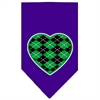 Mirage Pet Products Argyle Heart Green Screen Print Bandana Purple Small