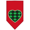 Mirage Pet Products Argyle Heart Green Screen Print Bandana Red Small