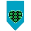 Mirage Pet Products Argyle Heart Green Screen Print Bandana Turquoise Large