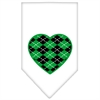 Mirage Pet Products Argyle Heart Green Screen Print Bandana White Large