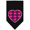 Mirage Pet Products Argyle Heart Pink Screen Print Bandana Black Large
