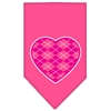Mirage Pet Products Argyle Heart Pink Screen Print Bandana Bright Pink Small