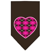 Mirage Pet Products Argyle Heart Pink Screen Print Bandana Cocoa Large