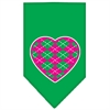 Mirage Pet Products Argyle Heart Pink Screen Print Bandana Emerald Green Large