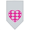 Mirage Pet Products Argyle Heart Pink Screen Print Bandana Grey Large