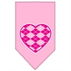 Mirage Pet Products Argyle Heart Pink Screen Print Bandana Light Pink Small