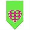 Mirage Pet Products Argyle Heart Pink Screen Print Bandana Lime Green Small