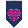 Mirage Pet Products Argyle Heart Pink Screen Print Bandana Navy Blue large