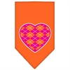 Mirage Pet Products Argyle Heart Pink Screen Print Bandana Orange Small