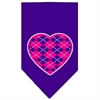Mirage Pet Products Argyle Heart Pink Screen Print Bandana Purple Small