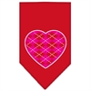 Mirage Pet Products Argyle Heart Pink Screen Print Bandana Red Small