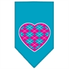 Mirage Pet Products Argyle Heart Pink Screen Print Bandana Turquoise Large