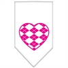 Mirage Pet Products Argyle Heart Pink Screen Print Bandana White Large