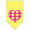 Mirage Pet Products Argyle Heart Pink Screen Print Bandana Yellow Small
