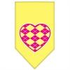 Mirage Pet Products Argyle Heart Pink Screen Print Bandana Yellow Large