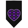Mirage Pet Products Argyle Heart Purple Screen Print Bandana Black Large