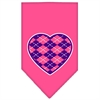 Mirage Pet Products Argyle Heart Purple Screen Print Bandana Bright Pink Large
