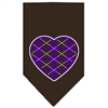 Mirage Pet Products Argyle Heart Purple Screen Print Bandana Cocoa Large