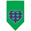 Mirage Pet Products Argyle Heart Purple Screen Print Bandana Emerald Green Large