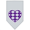 Mirage Pet Products Argyle Heart Purple Screen Print Bandana Grey Small