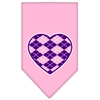 Mirage Pet Products Argyle Heart Purple Screen Print Bandana Light Pink Small