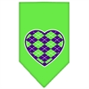 Mirage Pet Products Argyle Heart Purple Screen Print Bandana Lime Green Large