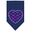 Mirage Pet Products Argyle Heart Purple Screen Print Bandana Navy Blue large