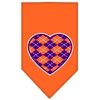 Mirage Pet Products Argyle Heart Purple Screen Print Bandana Orange Small