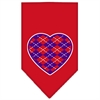 Mirage Pet Products Argyle Heart Purple Screen Print Bandana Red Small