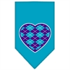 Mirage Pet Products Argyle Heart Purple Screen Print Bandana Turquoise Large
