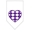 Mirage Pet Products Argyle Heart Purple Screen Print Bandana White Small