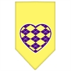Mirage Pet Products Argyle Heart Purple Screen Print Bandana Yellow Small