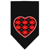 Mirage Pet Products Argyle Heart Red Screen Print Bandana Black Large